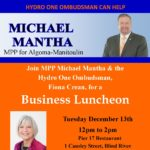 Invitation to Business Luncheon with MPP Mantha & Hydro One Ombudsman