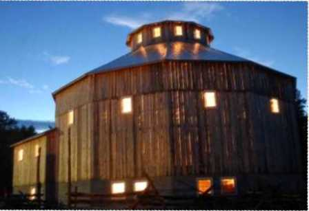 Historic Cordukes/Weber 12-Sided Barn at Night