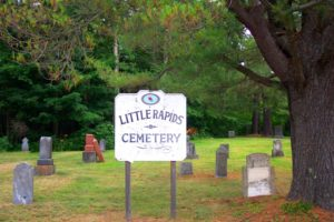 sign at Little Rapids Cemetery