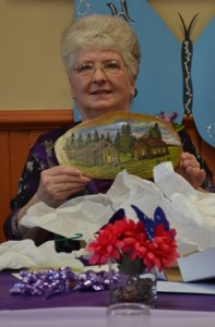 Laura with Painting of Heritage Park Museum