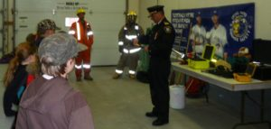 Fire Chief Medve explaining & demonstrating hand tools