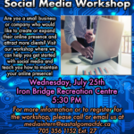 Today July 25:  Social Media Wkshp. for Small Businesses