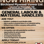 Birchland Plywood-Veneer now hiring general labour and material handler. Email career@birchlandplywood.com