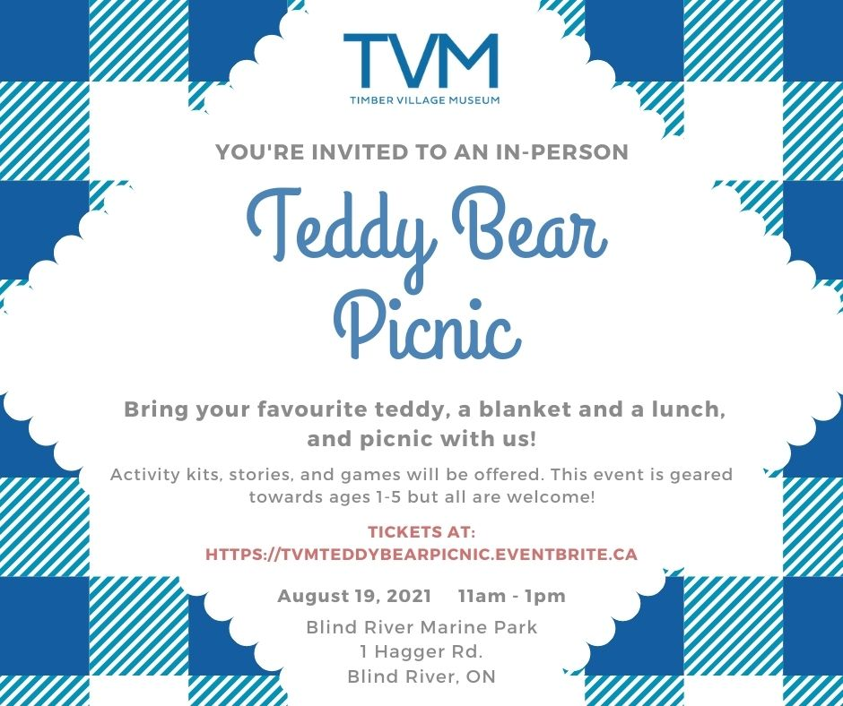 Teddy Bear Picnic. August 19, 2021 11 a.m. to 1 p.m. Blind River Marine Park, 1 Hagger Road.